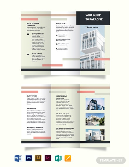 Professional RealEstate Broker AgentAgency TriFold Brochure Template
