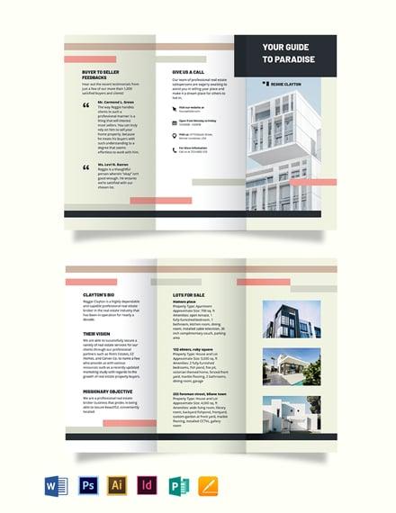 professional realestate broker agentagency tri fold brochure template