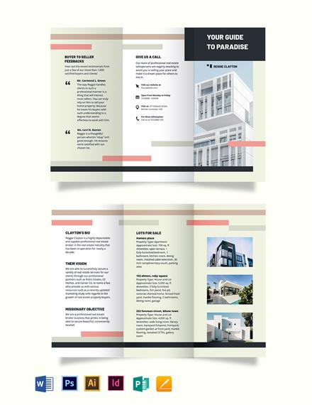 Professional Real Estate Broker Agent/Agency Tri-Fold Brochure Template