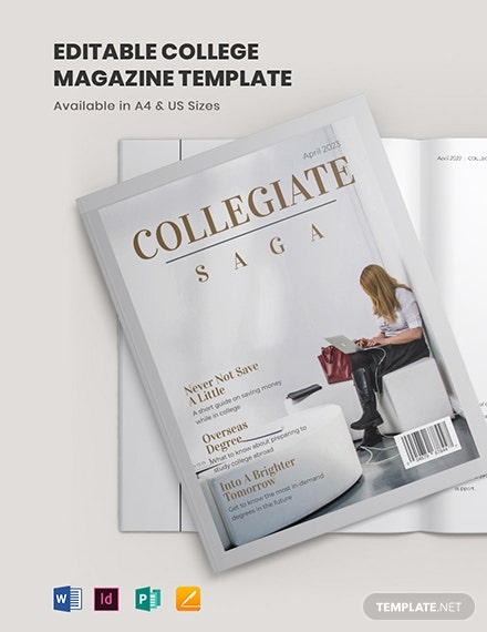editable college magazine template 1