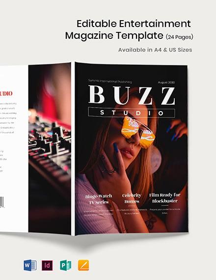 Editable Entertainment Magazine Template