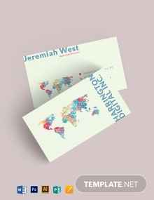 Creative World Map Business Card Template