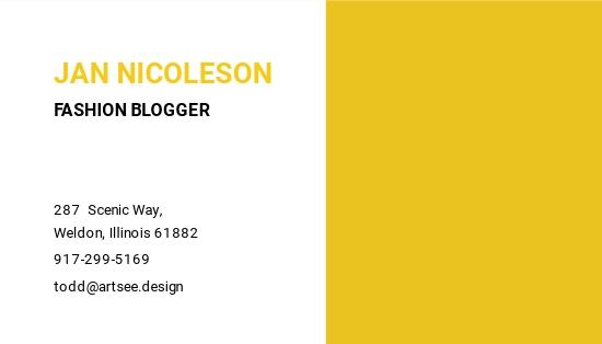 Fashion Blogger Business Card Template 1.jpe