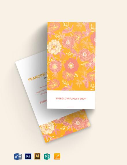 Fluorescent Florals Business Card Template