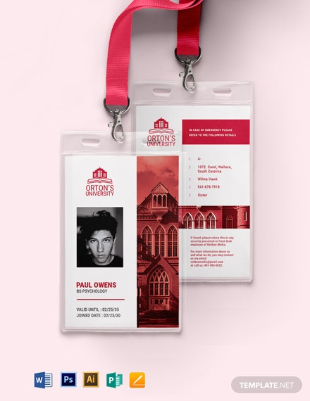 Vertical University ID Card Template