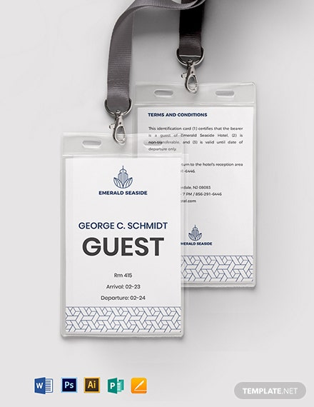 Visitor/ Guest ID Card Format Template