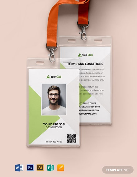Blank Club ID Card Template