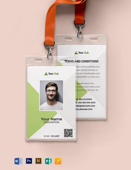 Blank Club ID Card Template
