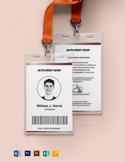Body Shop ID Card Template