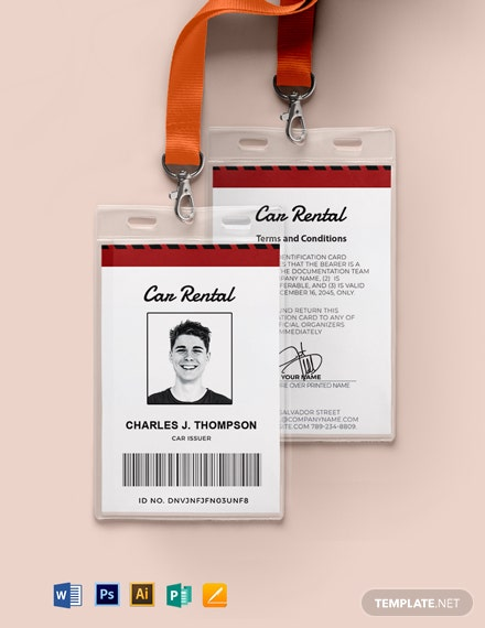 Car Rental ID Card Template