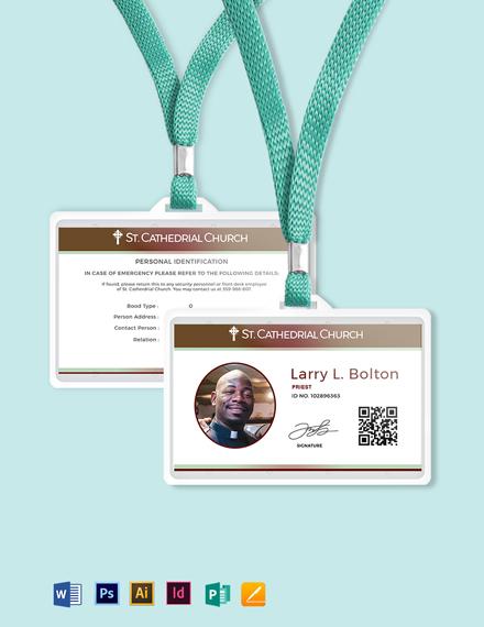 Clergy Church ID Card Template
