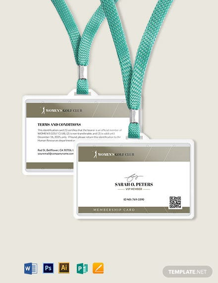 Club Membership ID Card Template