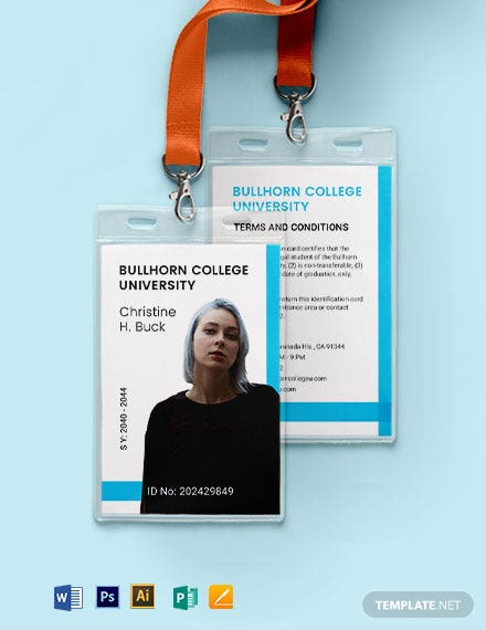 College ID Card Format Template