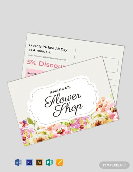 Free Floral Postcard Template