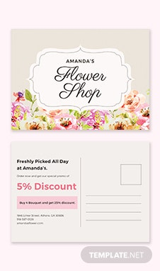 Floral Postcard Template