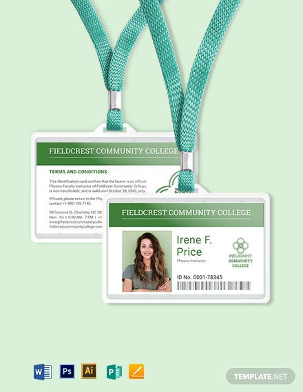 Community College ID Card Template