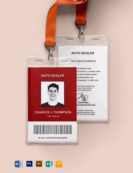 Dealer ID Card Template