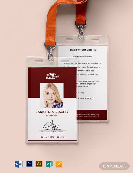 Sample Auto ID Card Template