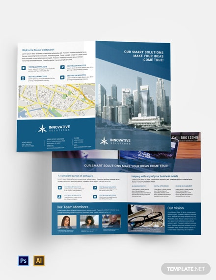 Free Business Solutions Bi-Fold Brochure Template