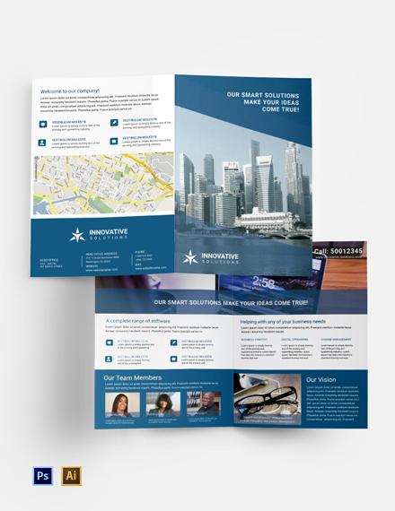 Free Business Solutions Bi-Fold Brochure Template