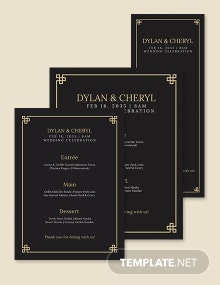 Art Deco Wedding Menu Template
