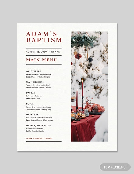 Baptism Flyer Menu Template