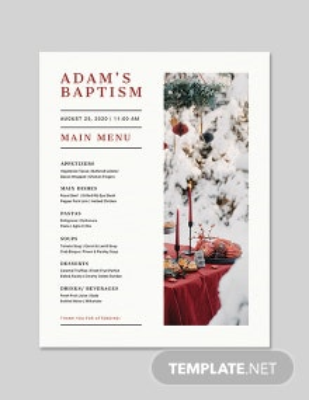 Baptism Flyer Menu Template