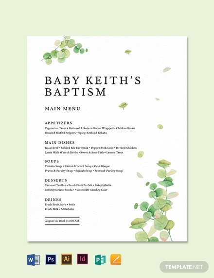 Baptism Table Tent Menu Template