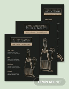 Bar/Drink Wedding Menu Template