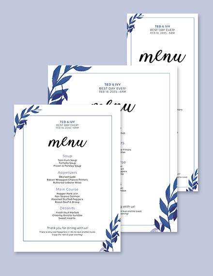 Blue Wedding Menu Template