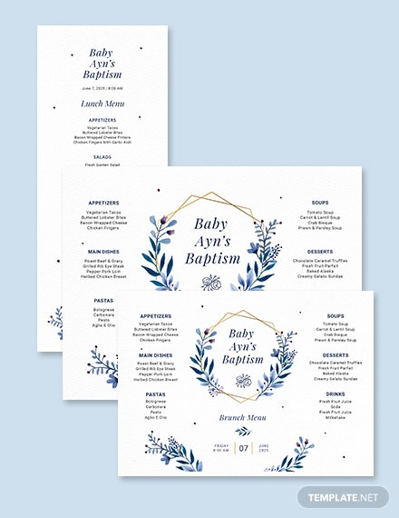 Brunch Baptism Menu Template