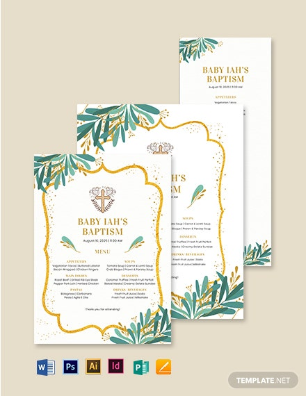 Catholic Baptism Menu Template