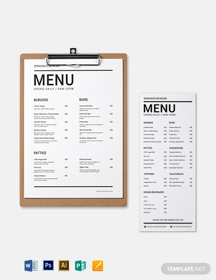 Printable Burger Menu Template