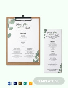 Program & Menu Wedding Menu Template