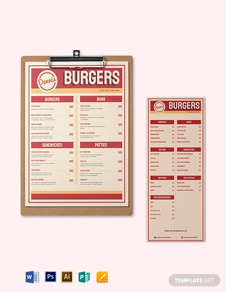 Retro Burger Menu Template