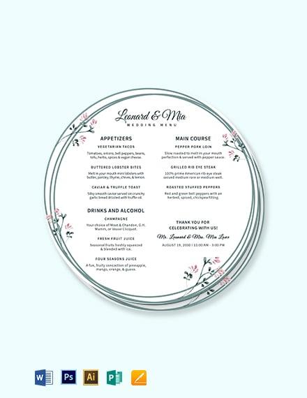 Round Wedding Menu Template