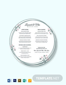 Round Wedding Menu Template