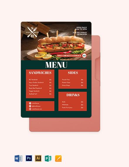 Sandwich/Sub Flyer Menu Template