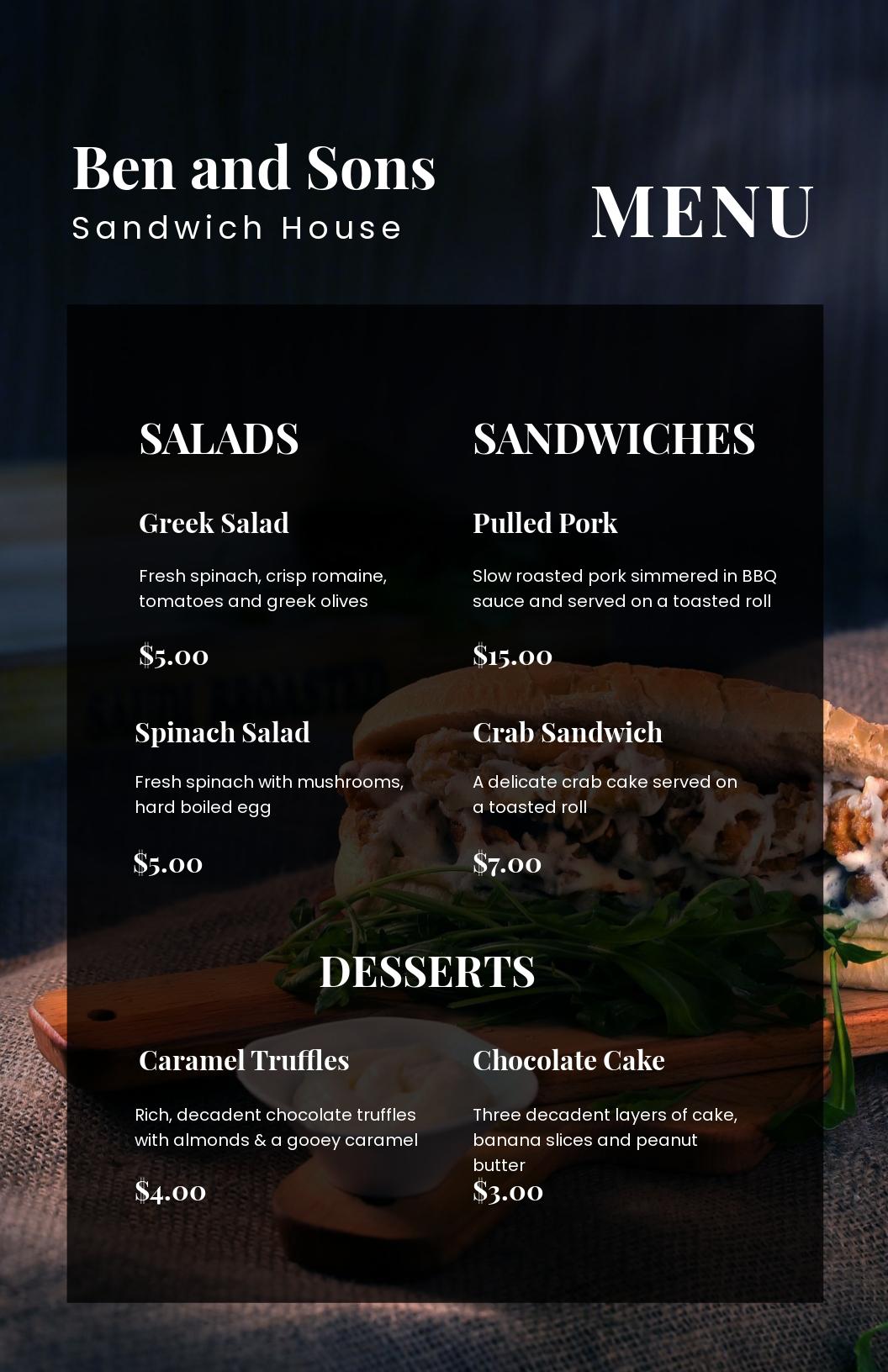 Sandwich/Sub Poster Menu Template