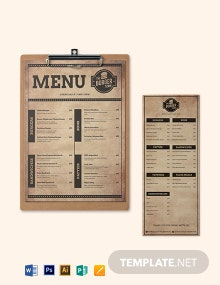 Vintage Burger Menu Template