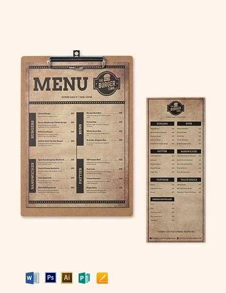 Vintage Burger Menu Template