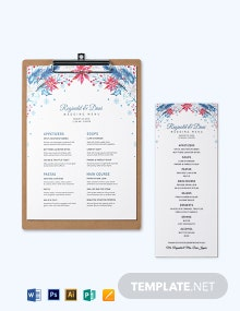 Winter Wedding Menu Template