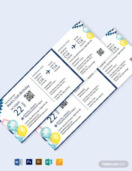 birthday invitation airline ticket template 1x