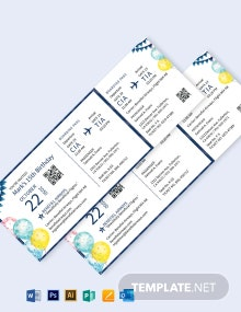 Birthday Invitation Airline Ticket Template