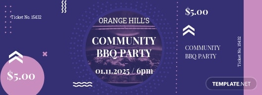 Community BBQ Ticket Template