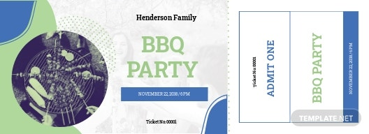 Family BBQ Ticket Template