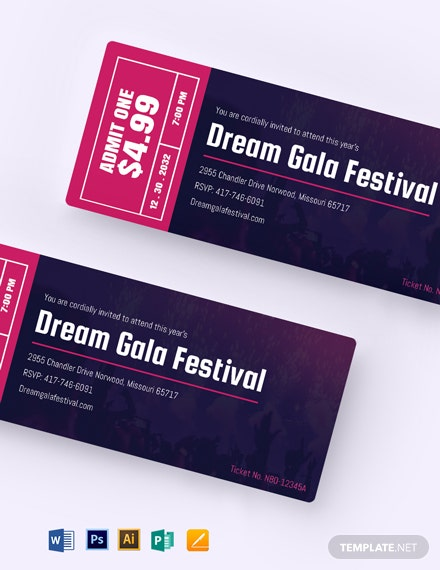 Gala Festival Event Ticket Template