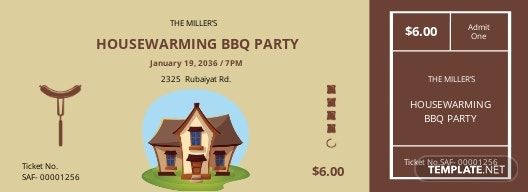 Housewarming BBQ Ticket Template