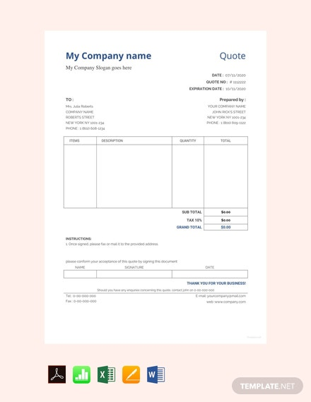 Free Sample Quotation Format