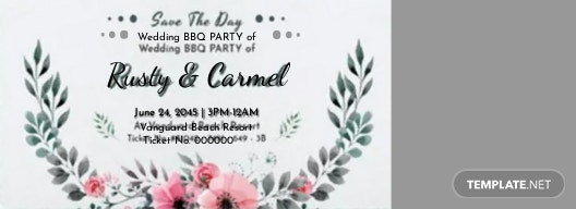 wedding bbq ticket template